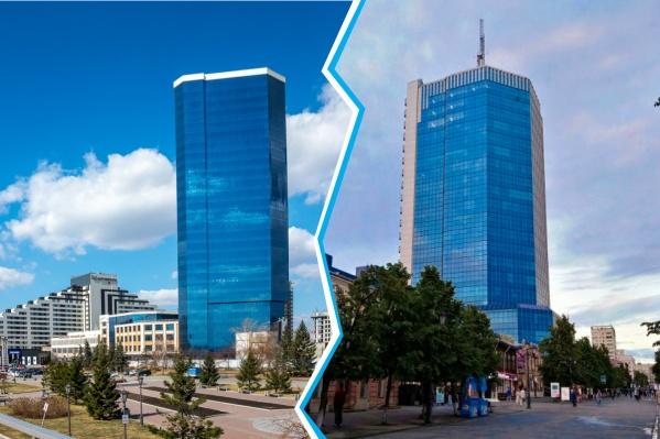 Голубые небоскребы в историческом центре: слева — Красноярск, справа — Челябинск