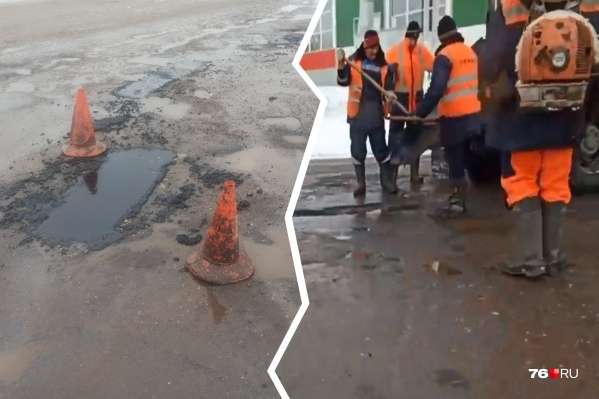 Дорогу ремонтируютна выезде из Переславля на Большую Бремболу
