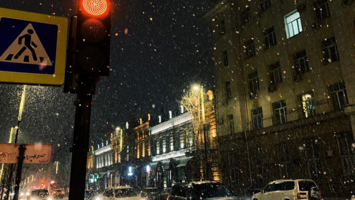 Красноярск засыпало пушистым снегом