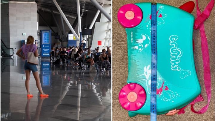 Жителя Тюмени не пустили в самолет из-за колесиков на детском чемодане