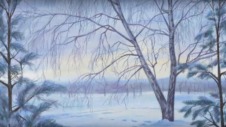 Художник нарисовал зимний о. Татышев и показал 5 часов работы в коротком красивом видео