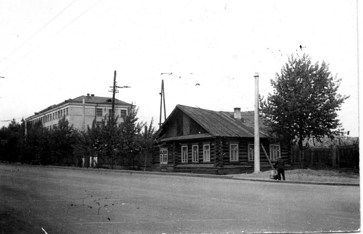 Белинского у переулка Степного, вид на деревянный дом и школу №17