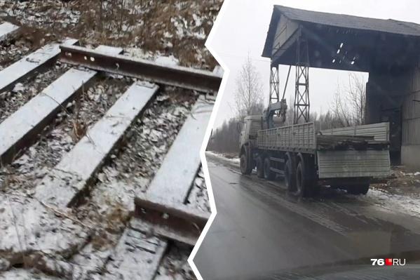 Рабочие разобрали и увезли около ста метров железнодорожного полотна
