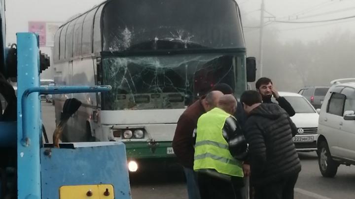 «От удара растрескалось лобовое стекло»: на юге Волгограда столкнулись автобус и хлебовозка