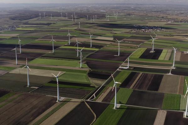 Ветрогенераторы стоят в большом количестве по обе стороны автобана из Вены в Братиславу