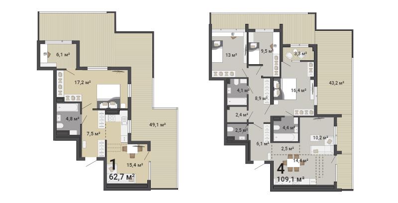 Террасы есть в однокомнатных и четырёхкомнатных квартирах