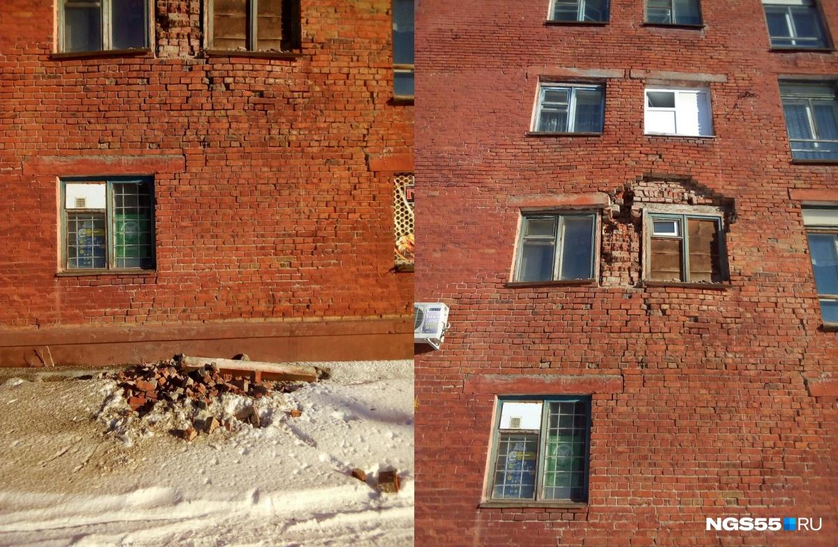 Часть кирпичной стены жилого дома обрушилась вОмске
