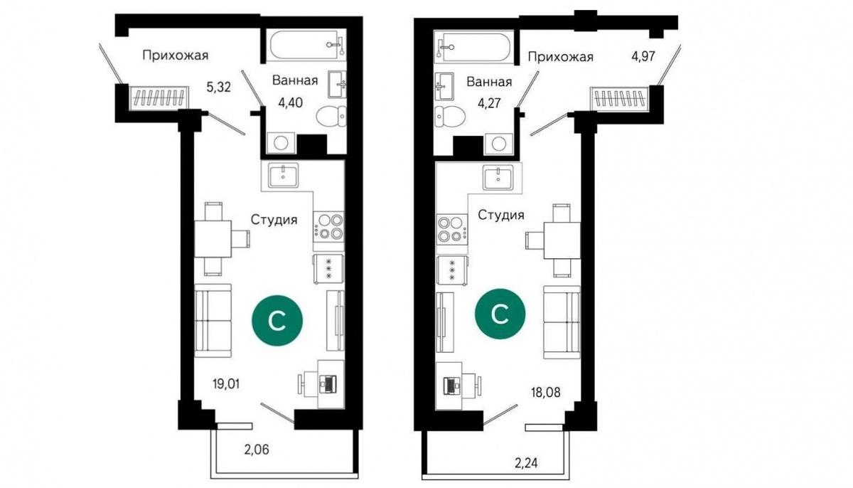 Типовые планировки квартир-студий в первом доме ЖК «Сказы Бажова»