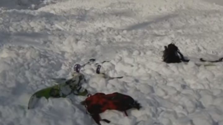 Гибель новосибирца под снежной лавиной в Кузбассе попала на видео