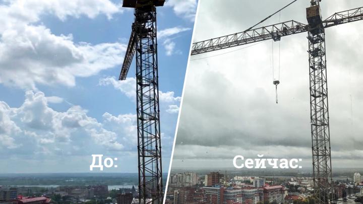 «Чего ждут? Пока рухнет?»: в Самаре строительный кран ветром развернуло на жилые дома