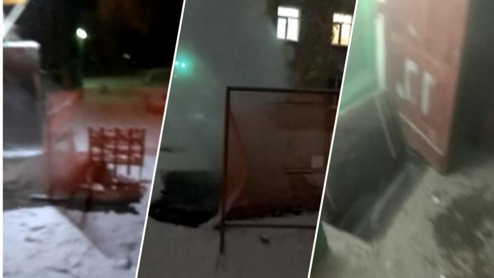 «Пар идёт в подъезды и квартиры»: во дворе на Расточке прорвало трубу