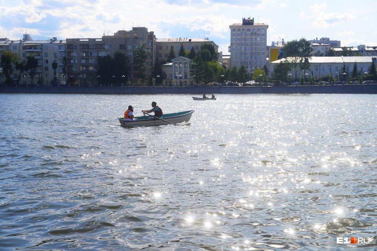 Лето — самое время кататься по пруду на лодках