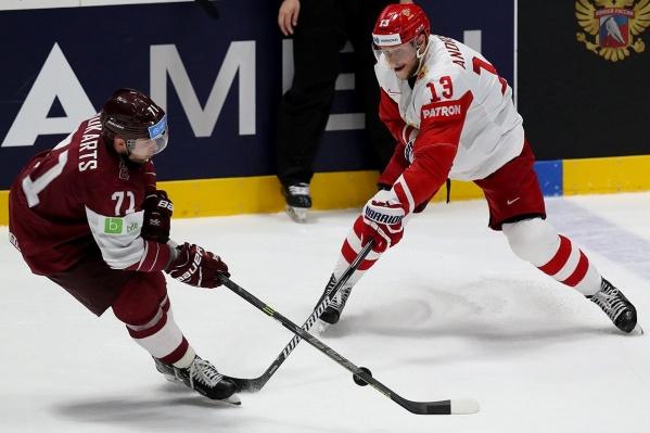 Все три шайбы в ворота латвийцев забили во втором периоде