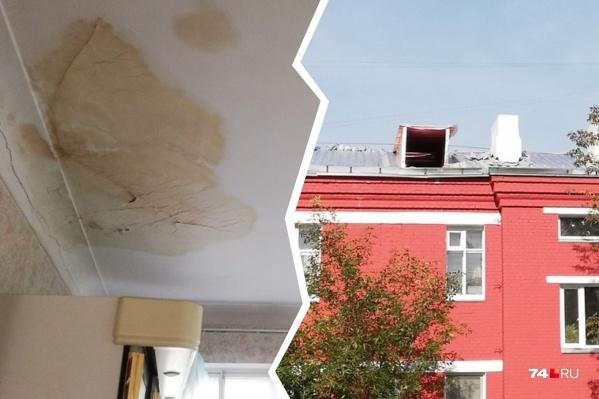 С потолков в квартире побежала вода, когда рабочие сняли и не вернули на место крышу дома