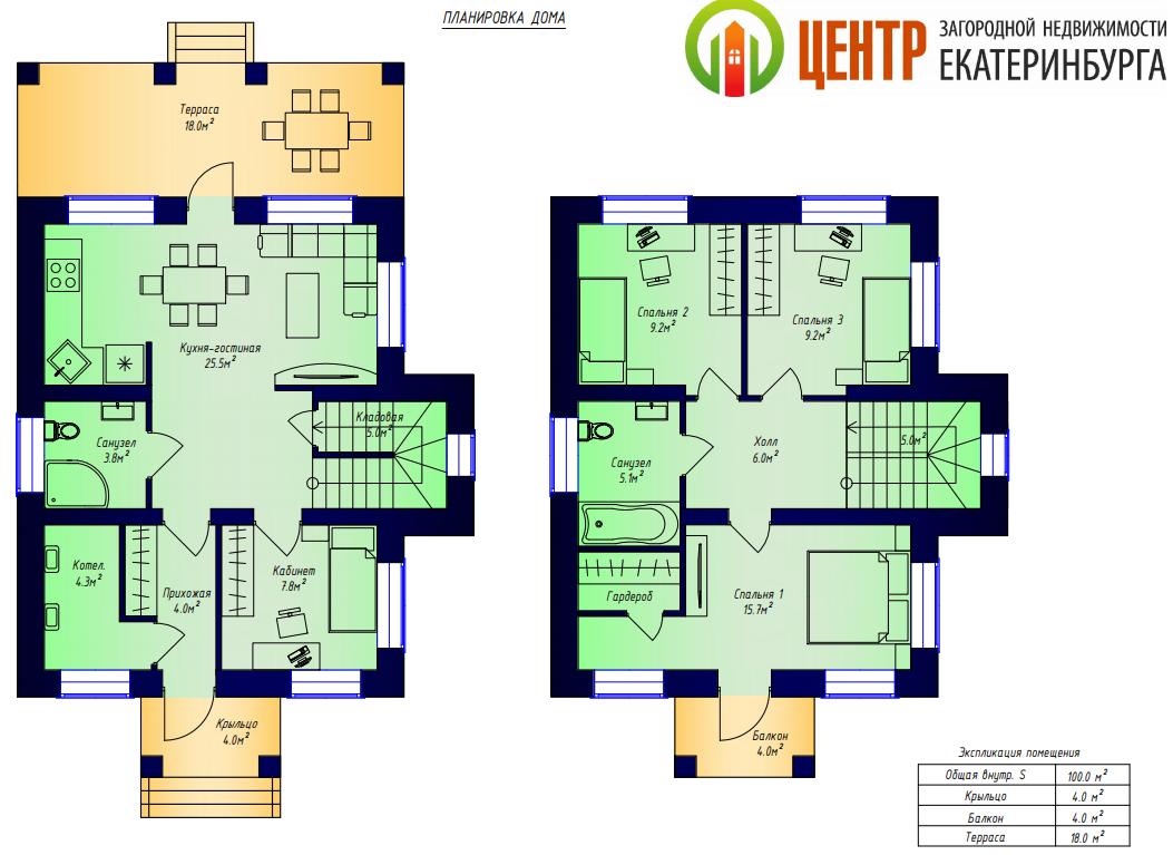 Планировка двухэтажного дома площадью 100 кв. м