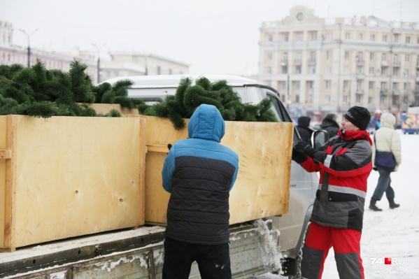 В Челябинске каждый год собирают 20-метровую ёлку