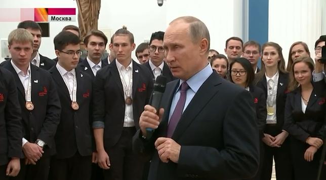 Владимир Путин принял вКремле национальную сборную WorldSkills-Russia, занявшую 1 место вобщекомандном зачёте побаллам на чемпионате мира WorldSkills-2017