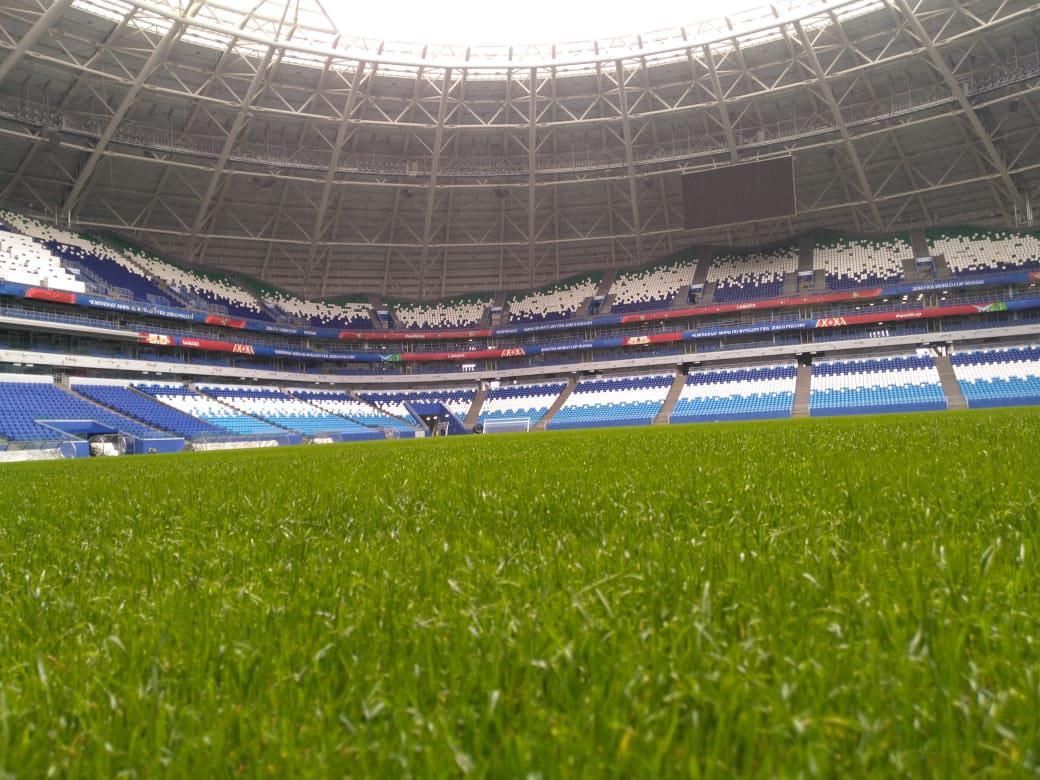 Газон настадионе «Самара Арена» готовят киграм русской Премьер-Лиги