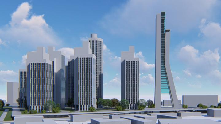 Дома на подиуме и высотка в 100 метров: рассматриваем макет Центрального рынка с архитекторами