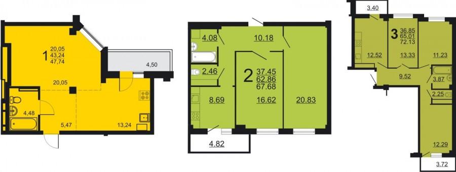 Типовые планировки квартир в ЖК «Рудный»