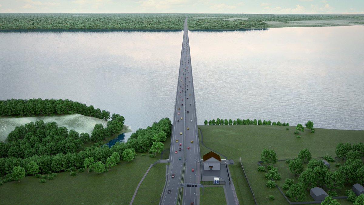 Судя по картинке, на мосту сделают четыре полосы движения