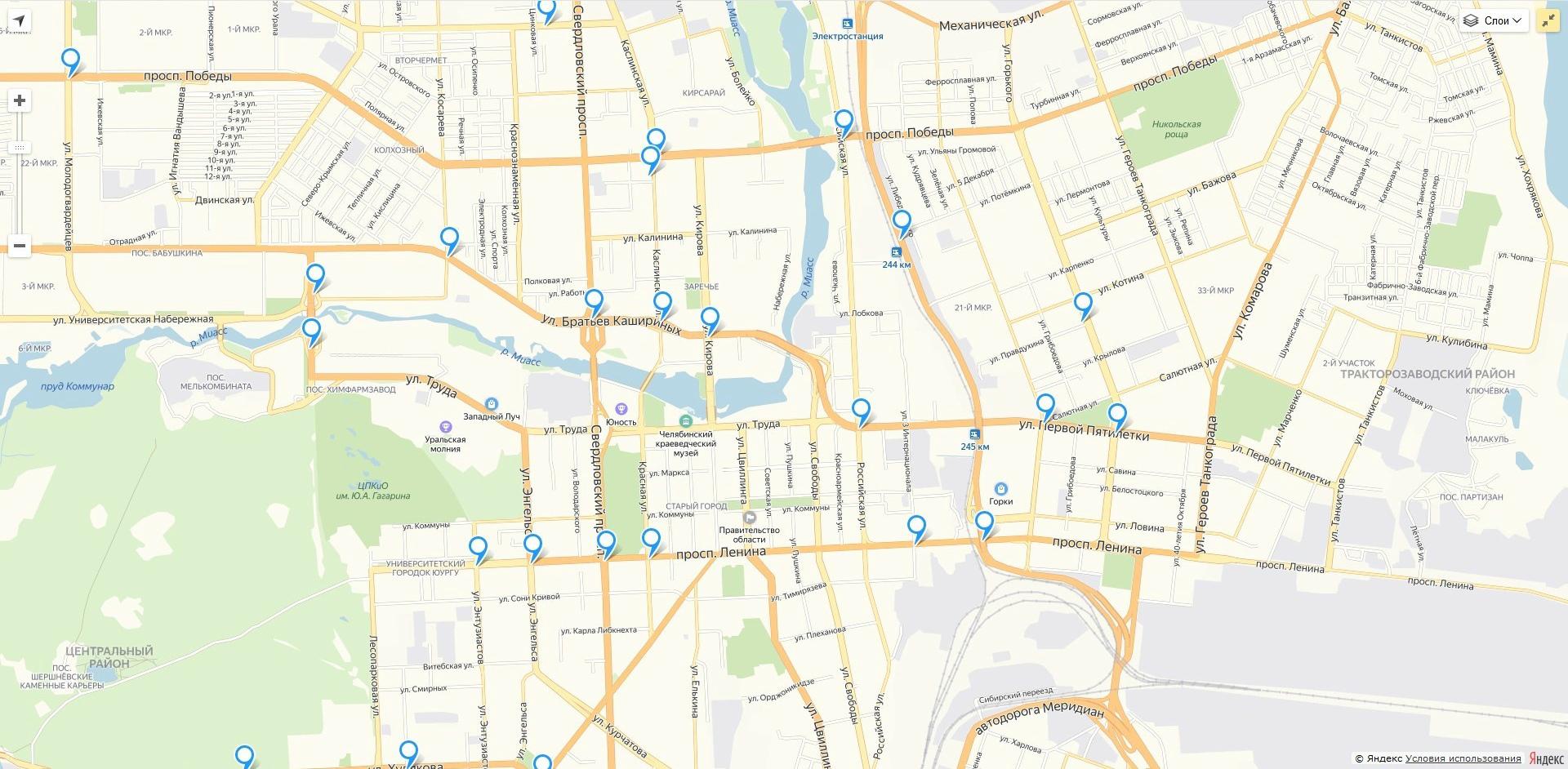 Например, вот так выглядит карта камер в Челябинске