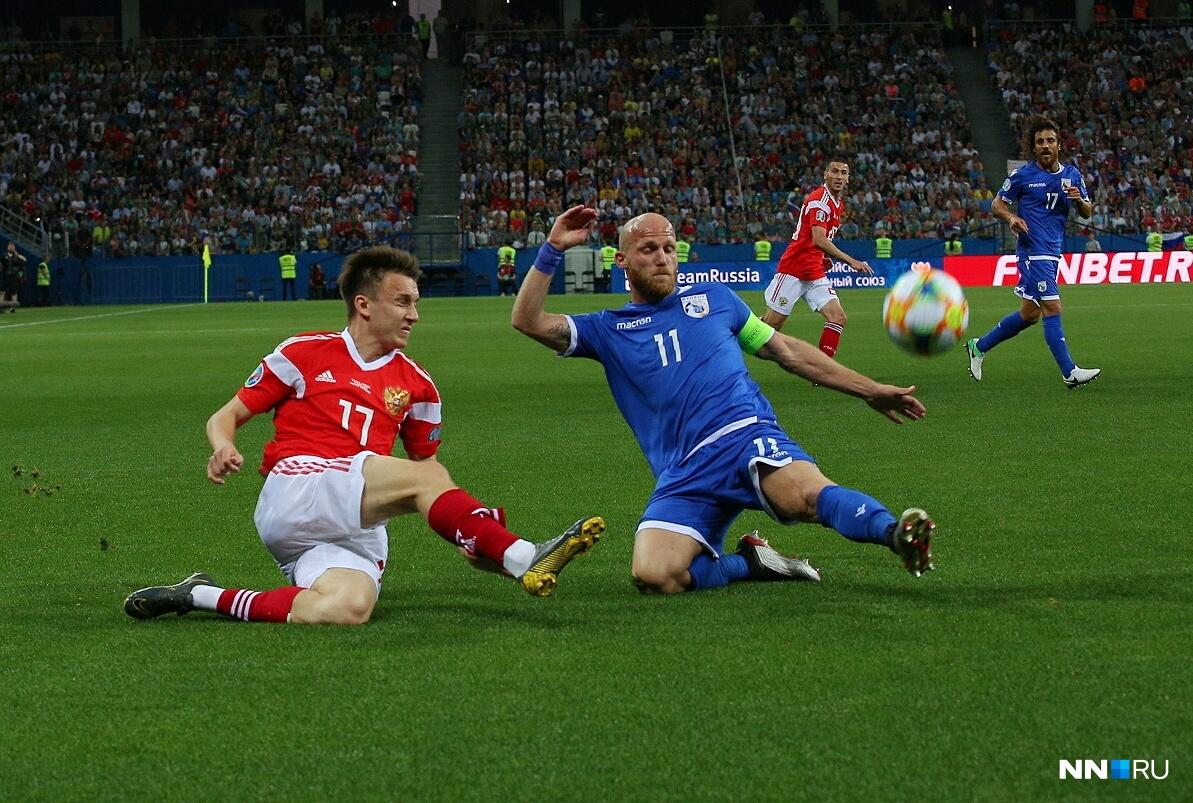 В сложном соперничестве сборная России одолела команду Кипра