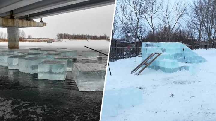 «Пилил бензопилой»: в Самарской области сварщик делает горки из речного льда