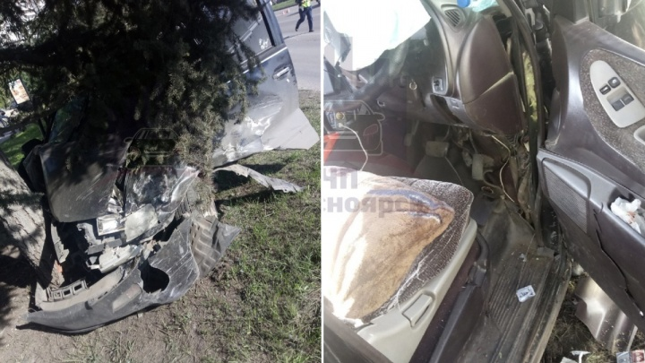 Микроавтобус влетел в дерево после столкновения с поворачивающим внедорожником