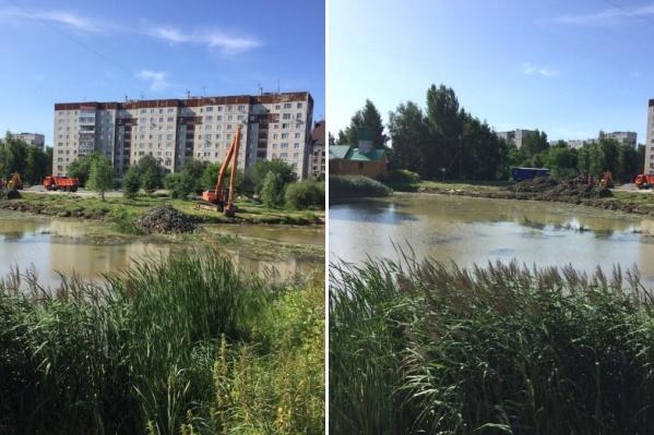 Местные жители были обеспокоены появлением строительной техники у водоёма