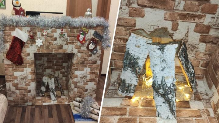 Новосибирская семья сделала камин на конкурс поделок — в детский сад его привезли на грузовике