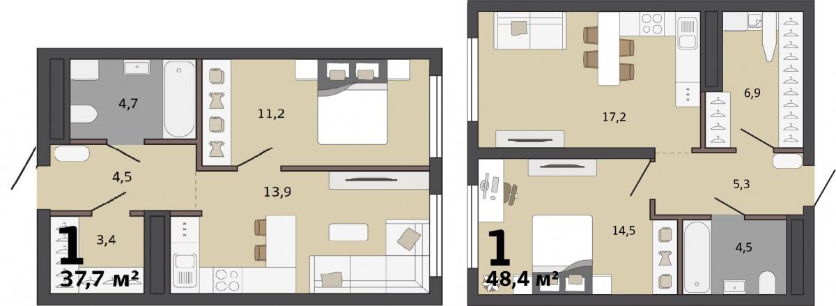 Классическая однушка — вариант для независимого жителя. В кухне-гостиной можно собирать друзей. Квартира с кладовкой устроит молодоженов<br>