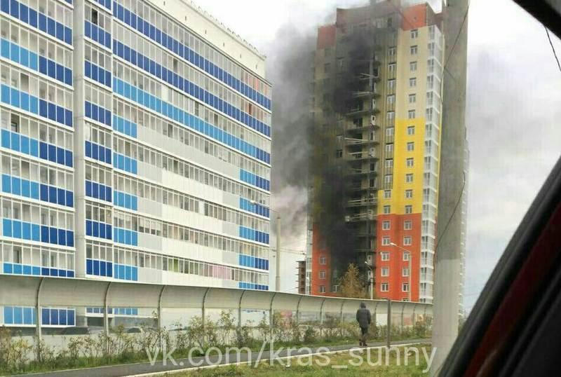 Пожар впроблемной высотке-долгострое вКрасноярске