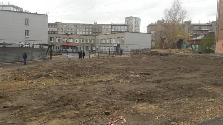 Суд остановил стройку бизнес-центра на месте вырубленных деревьев у лицея на Советской
