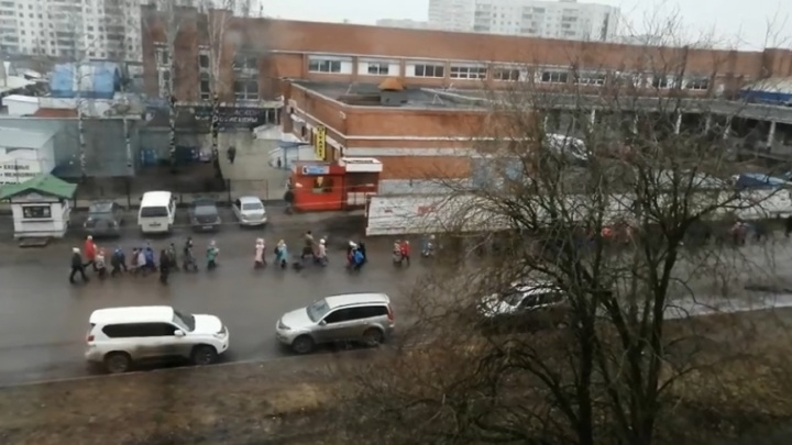 В этом городе дефицит благоустройства: в Ярославле целый класс малышей повели по проезжей части