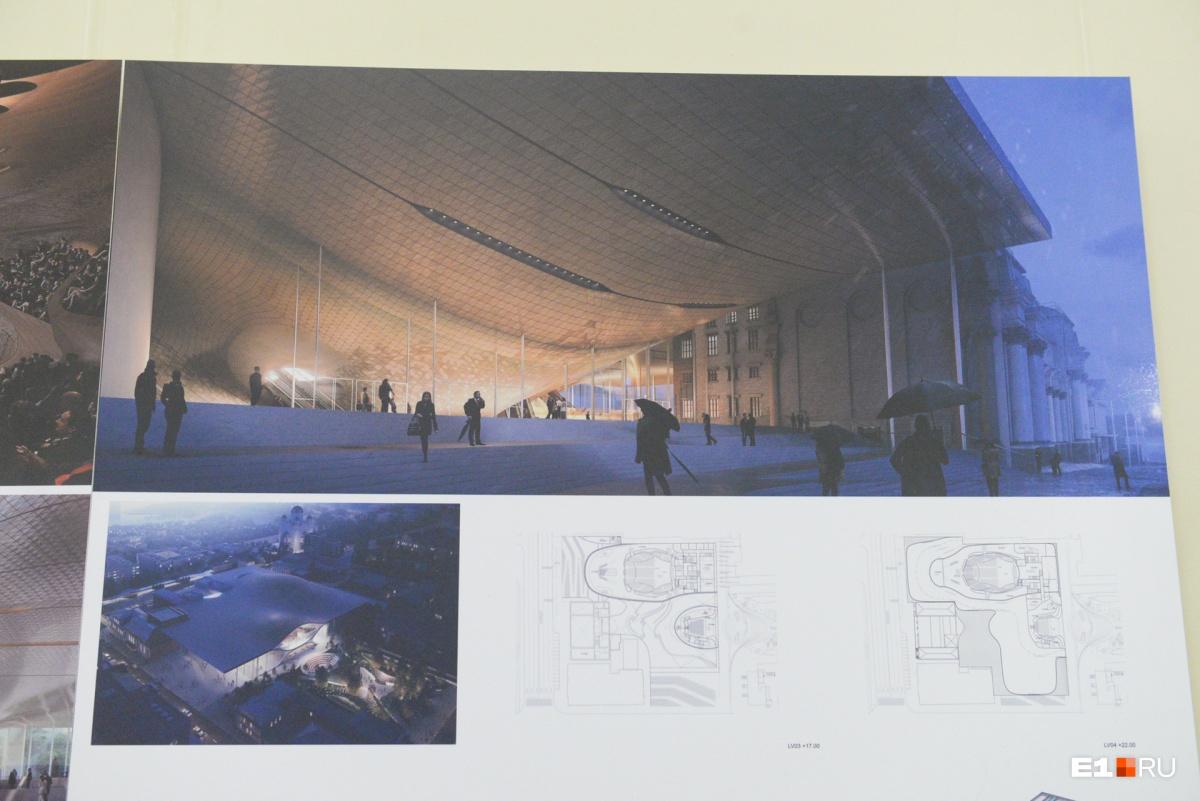 Огромная крыша-навес. По словам архитекторов, как приспособить этот проект к уральским условиям — ещё вопрос