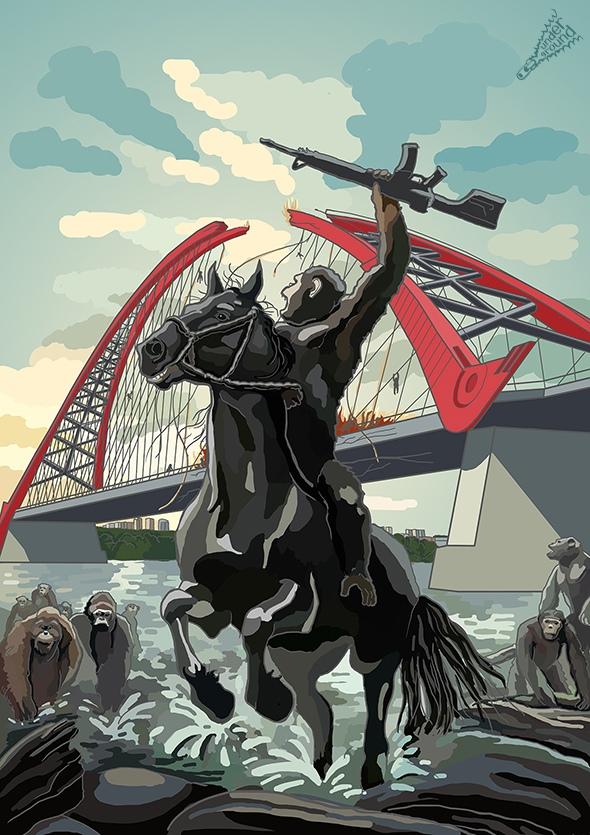 Картинка называется «Штурм Бугринского моста» — авторы вдохновились фильмом «Планета обезьян»