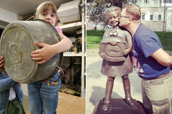 Слева — дочь Виталия Василиса позирует отцу во время работы над будущей скульптурой, а справа — результат совместного труда