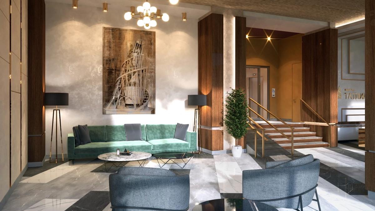 В вестибюле дома появятся велюровые диваны и кресла, отделка из камня и репродукция той самой башни III Интернационала, которую придумал Владимир Татлин