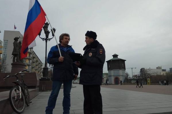 Виктор Балдин на шествии сторонников Навального