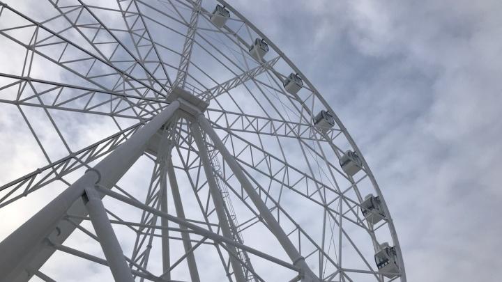 В парке Гагарина из-за холодов остановили новое колесо обозрения