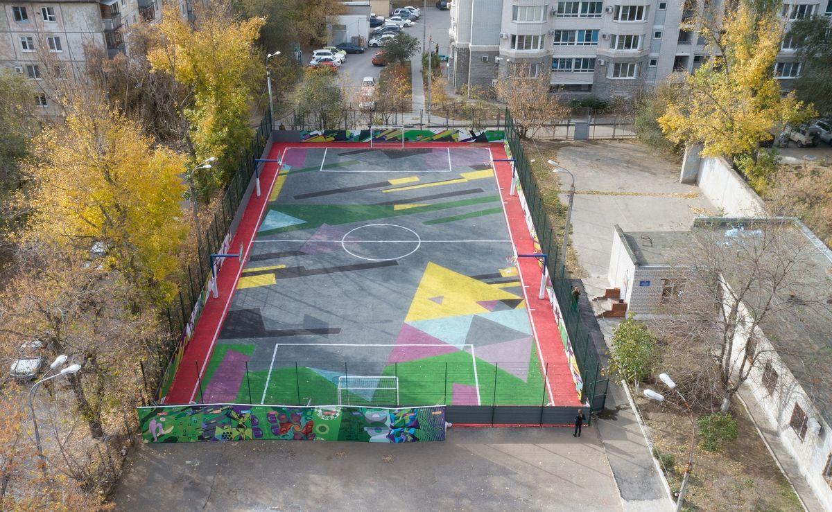 В Ворошиловском районе обновили спортплощадку