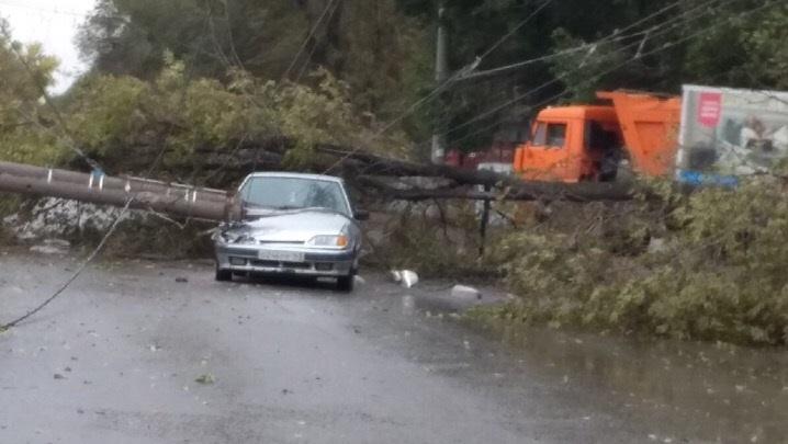 Принцип домино: на Кабельной поваленное ветром дерево уронило столб на автомобиль