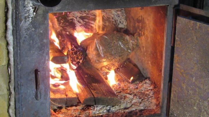 В Кургане в бане сожгли 5 килограммов гашиша и марихуаны