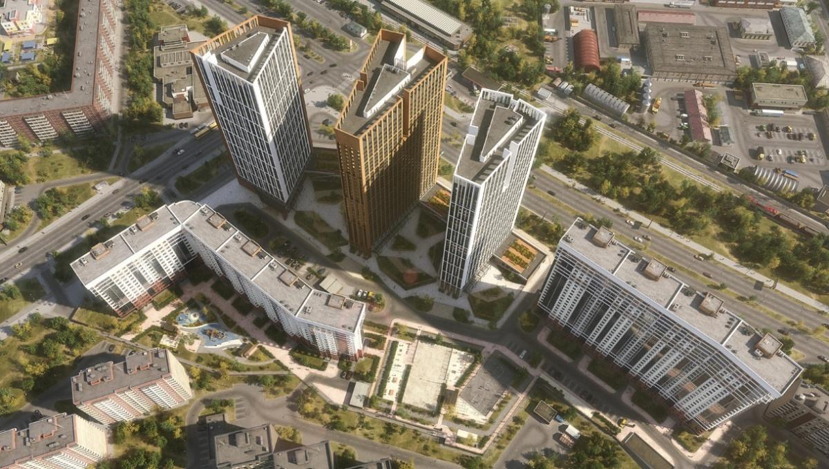 План застройки участка: дома будут возводиться слева направо, между башнями будут дворы