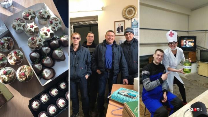 Устроили бои в валенках, лечились и пробовали сладкое: как в офисах Тюмени поздравляли мужчин