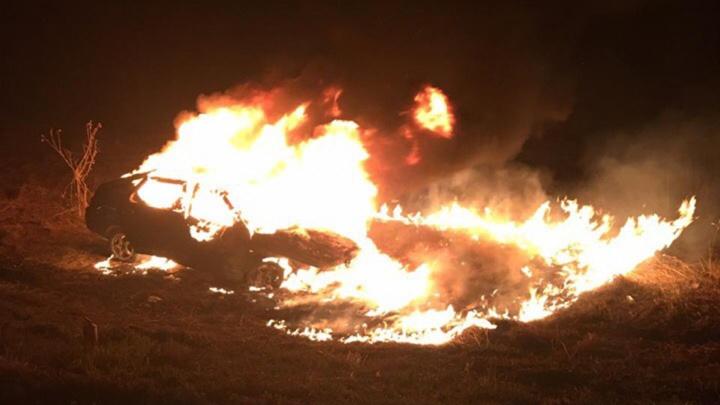 Съехал в кювет: в Башкирии ночью сгорел автомобиль