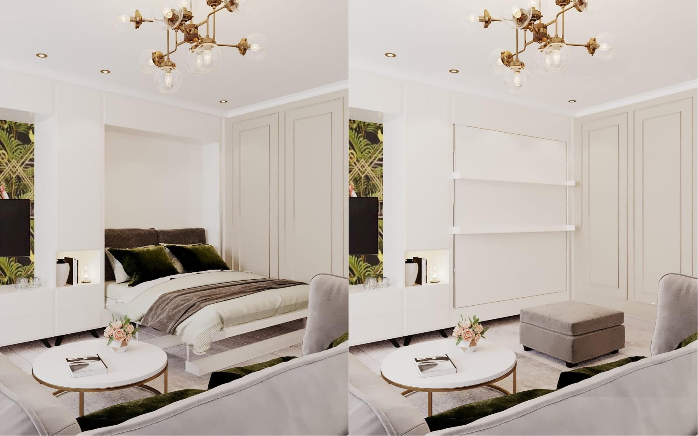 Пока кровать спрятана, на ее месте может стоять другая мебель, которую будет легко сдвинуть