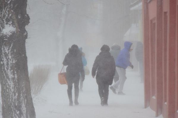 Сила ветра в Красноярске достигает 25 метров в секунду