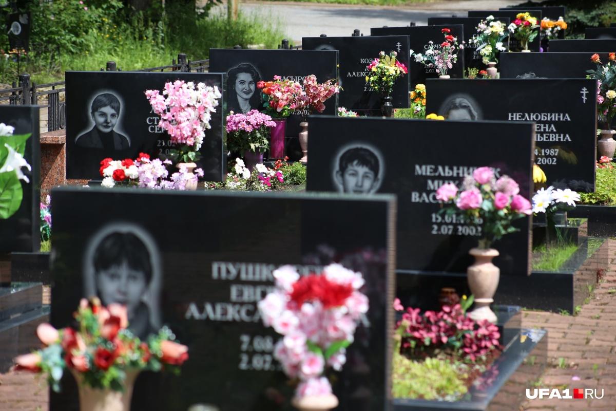 Большинство погибших пассажиров Ту-154 похоронены на Южном кладбище в Уфе